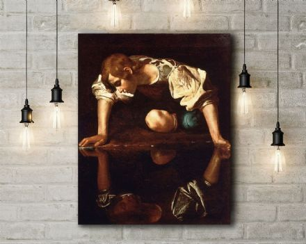 Caravaggio: Narcissus. Fine Art Canvas.